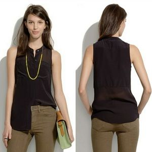 Madewell Silk Cargo Tank Black Sleeveless Top EUC